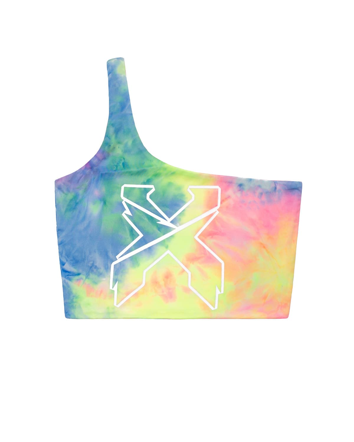 'Sliced' Logo One Shoulder Crop Top - Rainbow/White