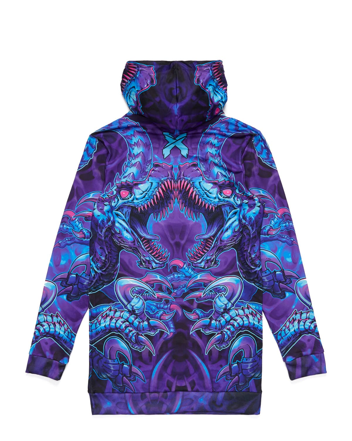 'Raptor Attack' Dye Sub Hoodie Dress - Nebula