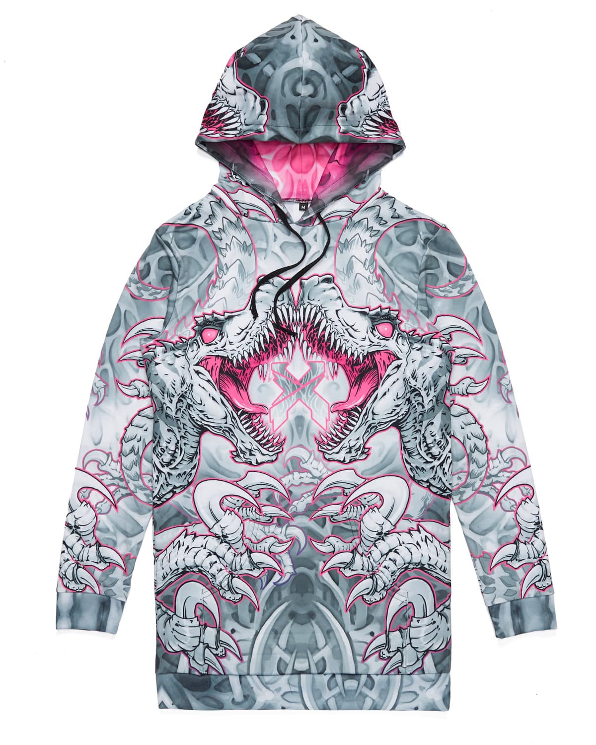 'Raptor Attack' Dye Sub Hoodie Dress - Pink