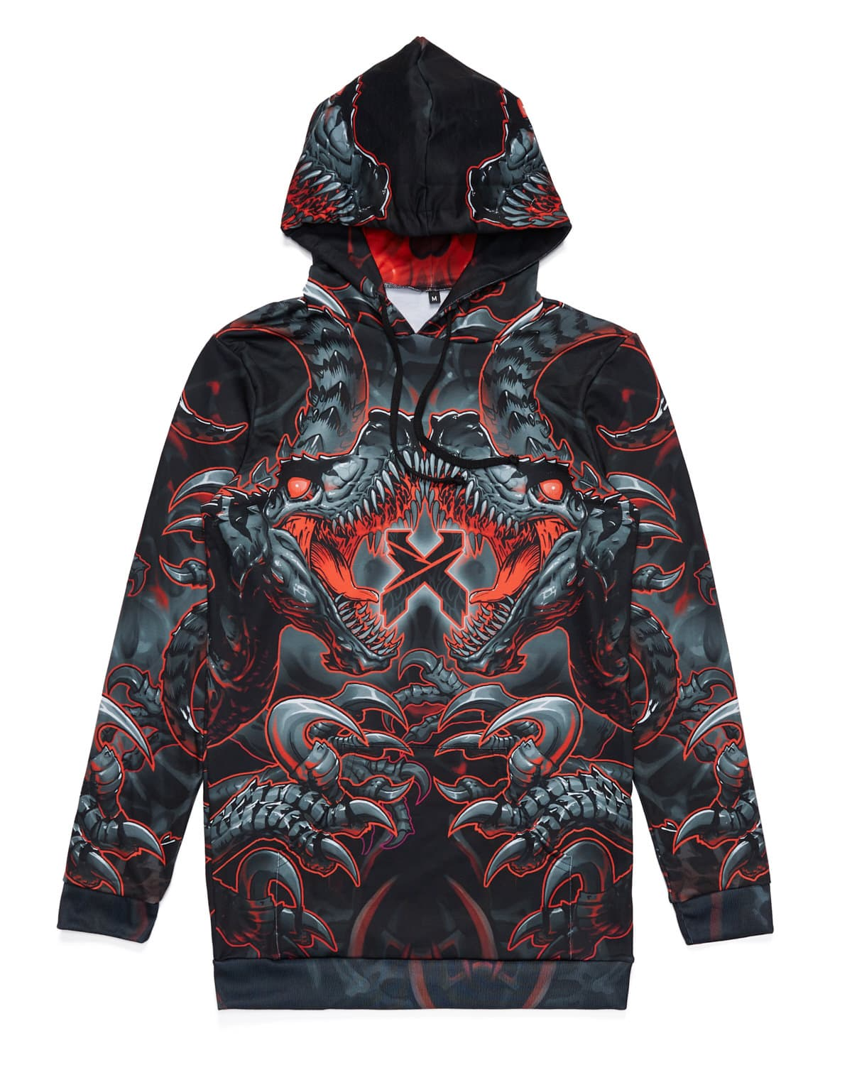 'Raptor Attack' Dye Sub Hoodie Dress - Red