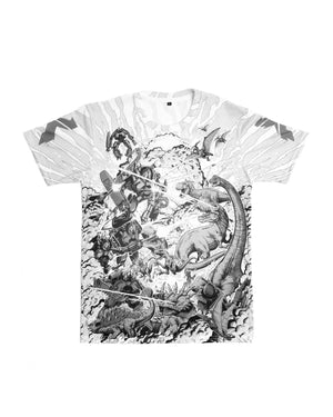 Excision 'Robot vs. Dino' Dye Sub T-Shirt - White/Grey