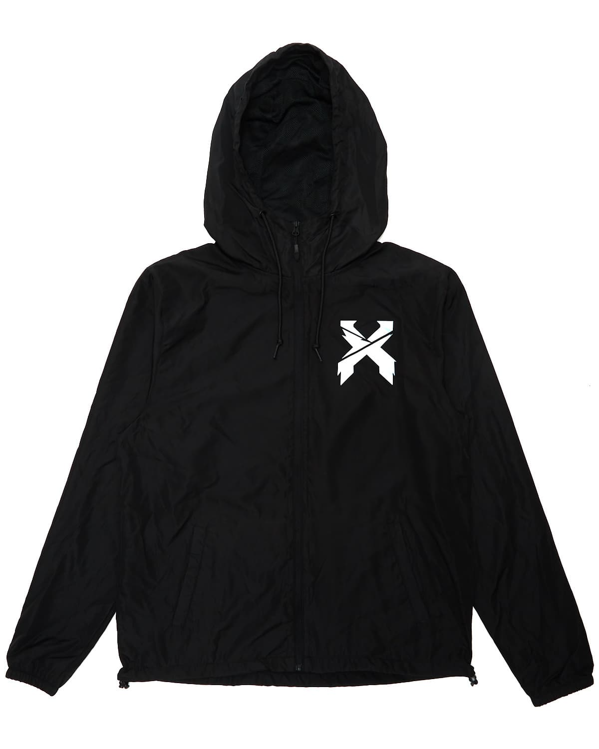 Excision 'Sliced' Logo Hooded Windbreaker - Black