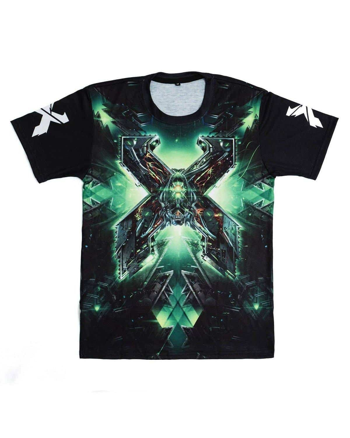 Excision 'The Paradox 2018' Dye Sub Tour T-Shirt - Black/Green