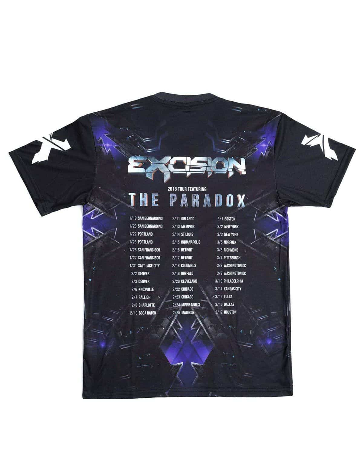 Excision 'The Paradox 2018' Dye Sub Tour T-Shirt - Black/Purple