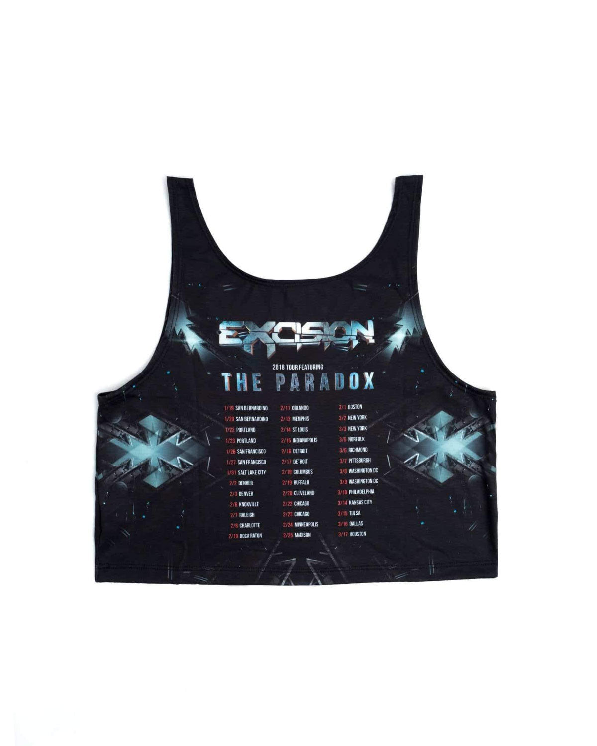 Excision 'The Paradox 2018 Tour' Womens Dye Sub Crop Top - Black/Grey