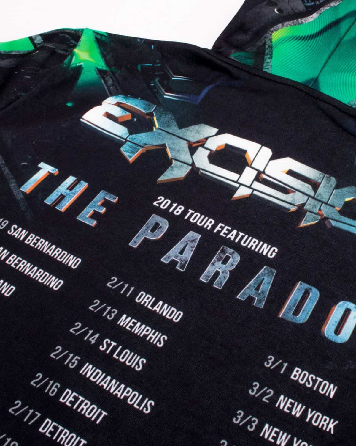 Excision 'The Paradox Tour 2018' Dye Sub Hoodie - Green/Black