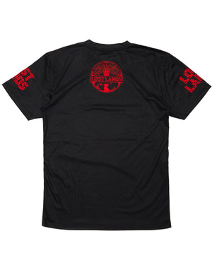 'Triceratops' Dye Sub Tee - Black/Red