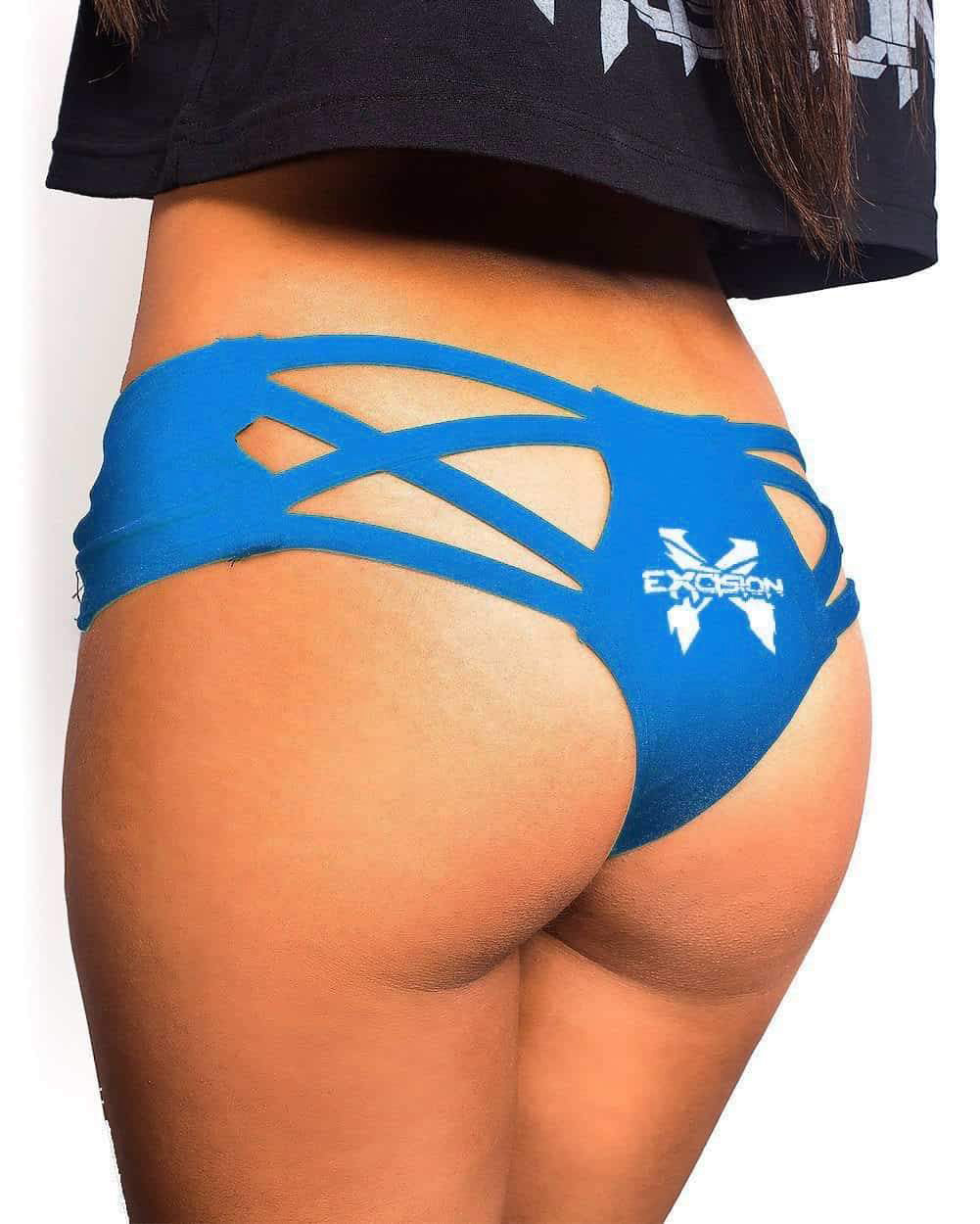 Excision X Cross Cut Out Booty Shorts - Blue
