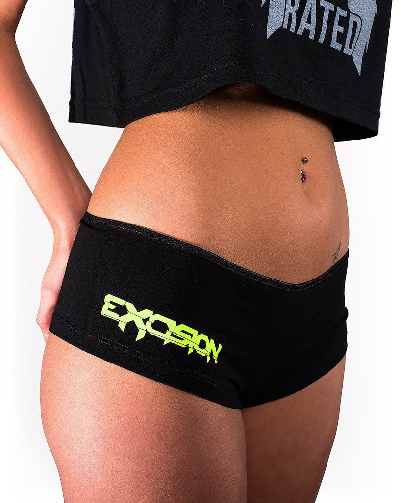 Excision Booty Shorts - Black/Neon Green