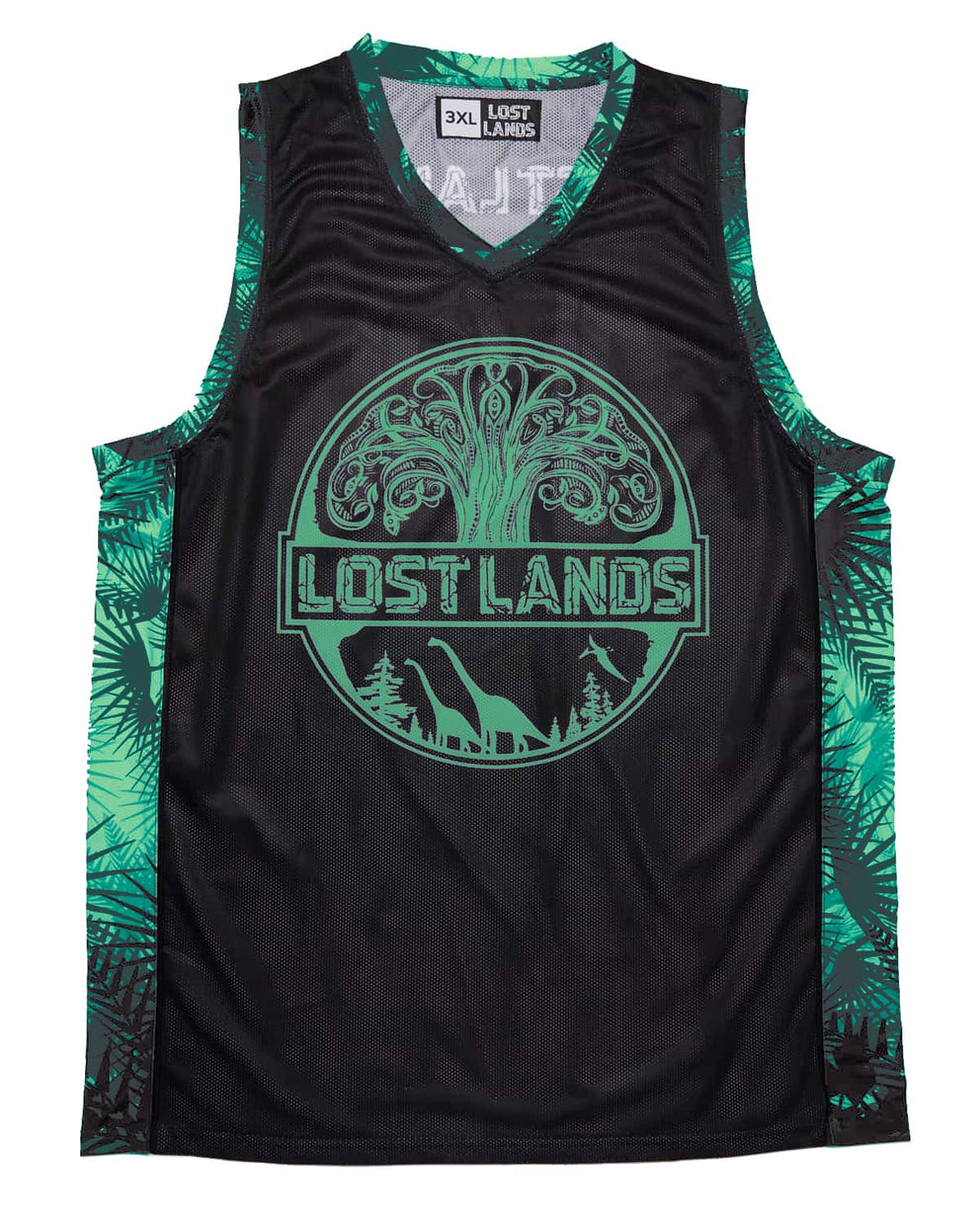 Lost Lands 'Foliage' Basketball Jersey - Black/Green
