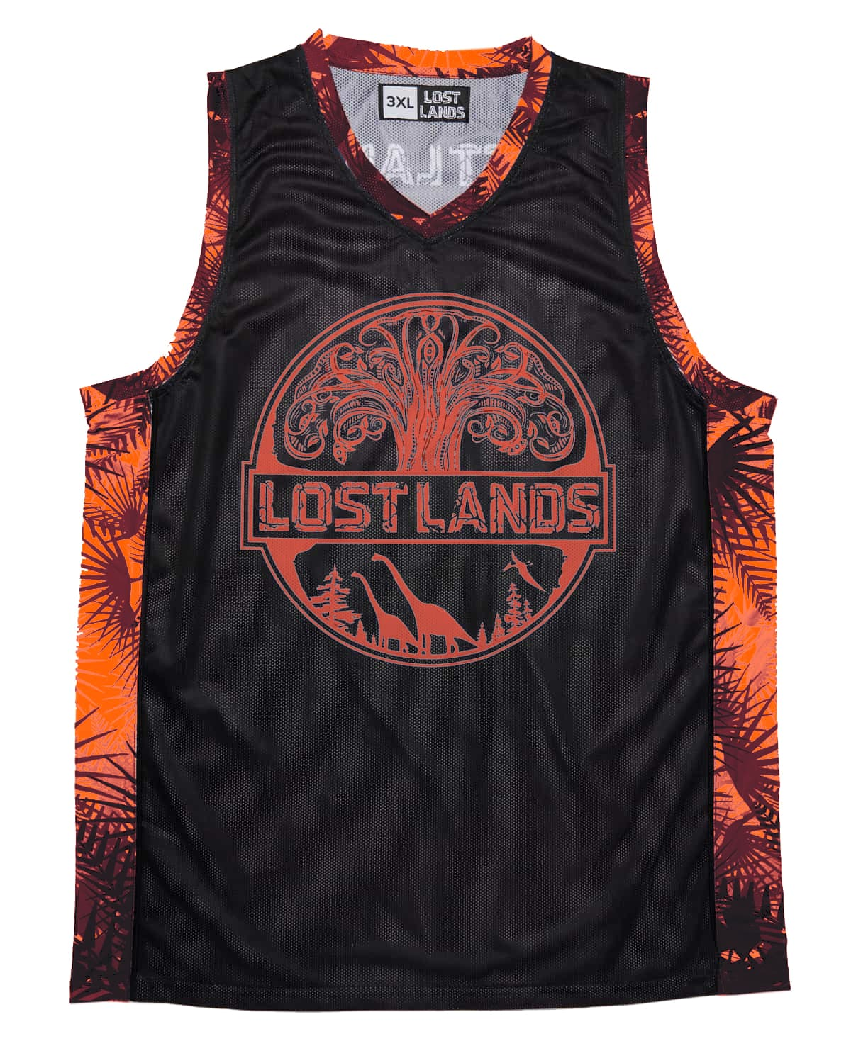 Lost Lands 'Foliage' Basketball Jersey - Black/Red