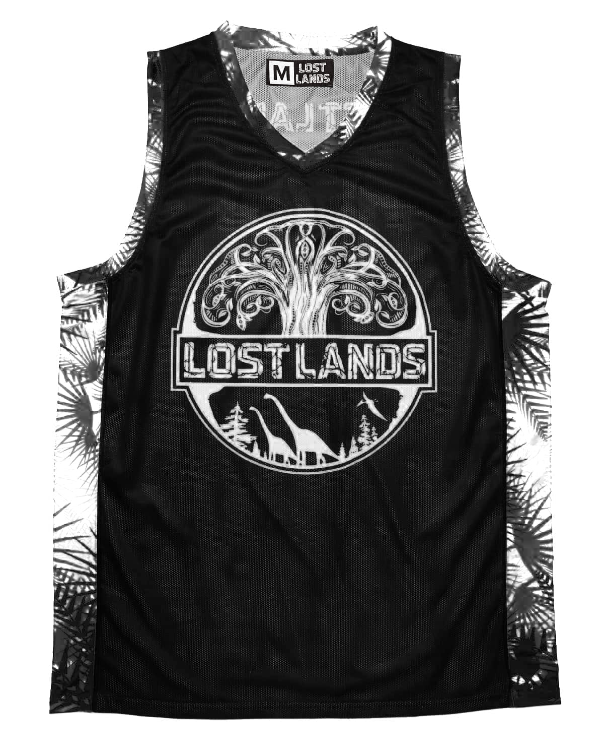 Lost Lands 'Foliage' Basketball Jersey - Black/White