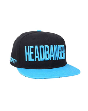'Headbanger' Snapback - Black/Neon Blue