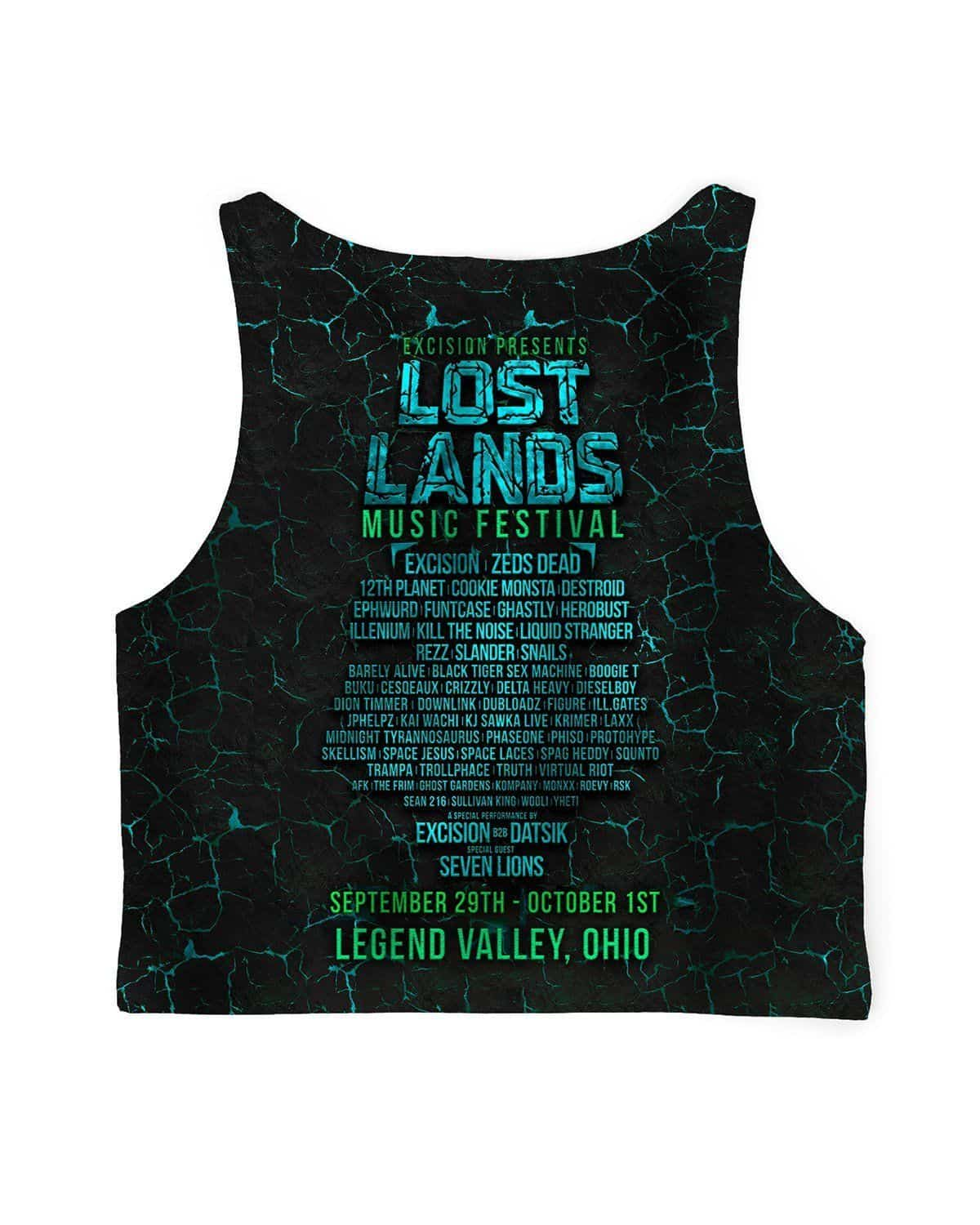 Lost Lands All Over Print Crop Top - Blue