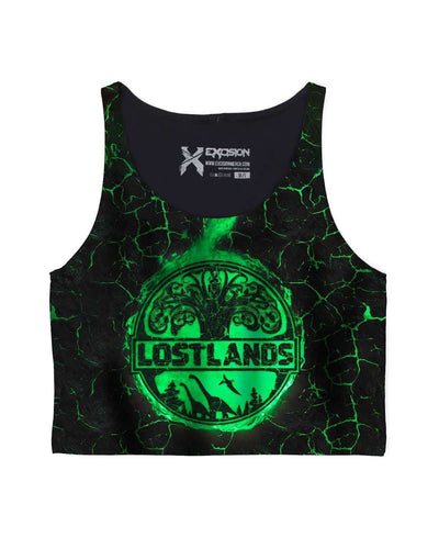 Lost Lands All Over Print Crop Top - Green