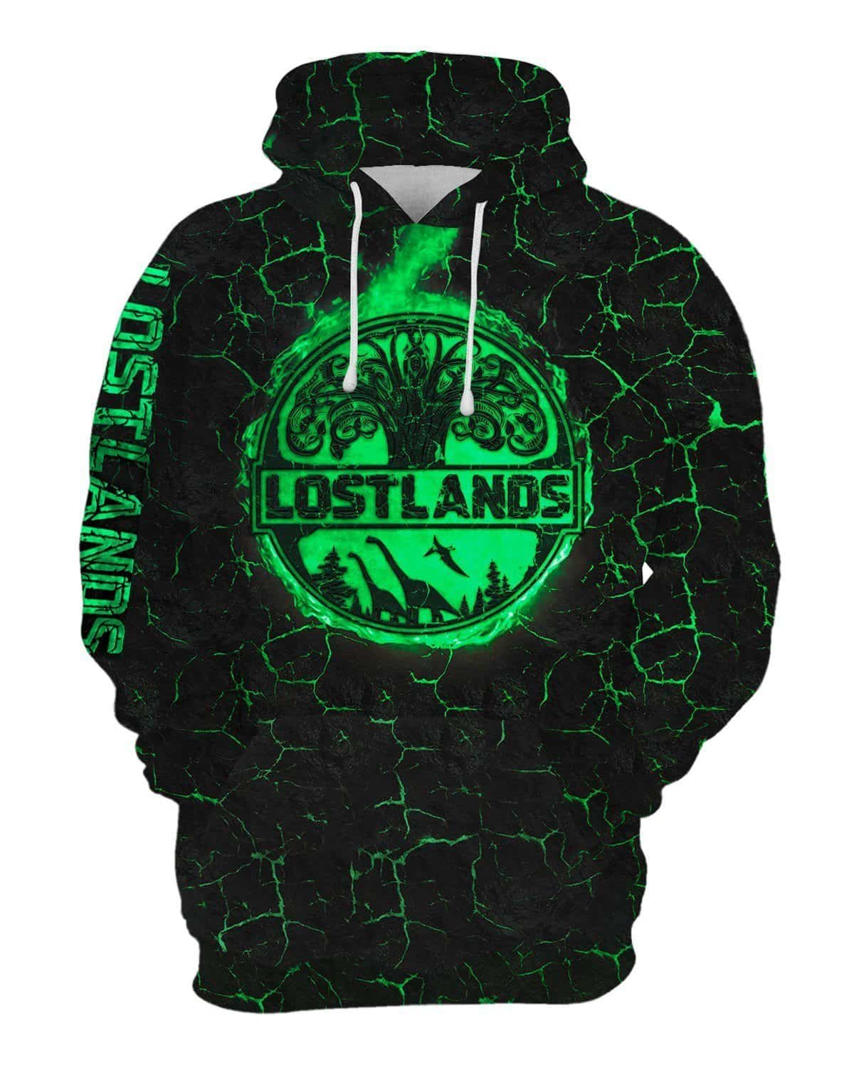 Lost Lands All Over Print Hoodie - Green