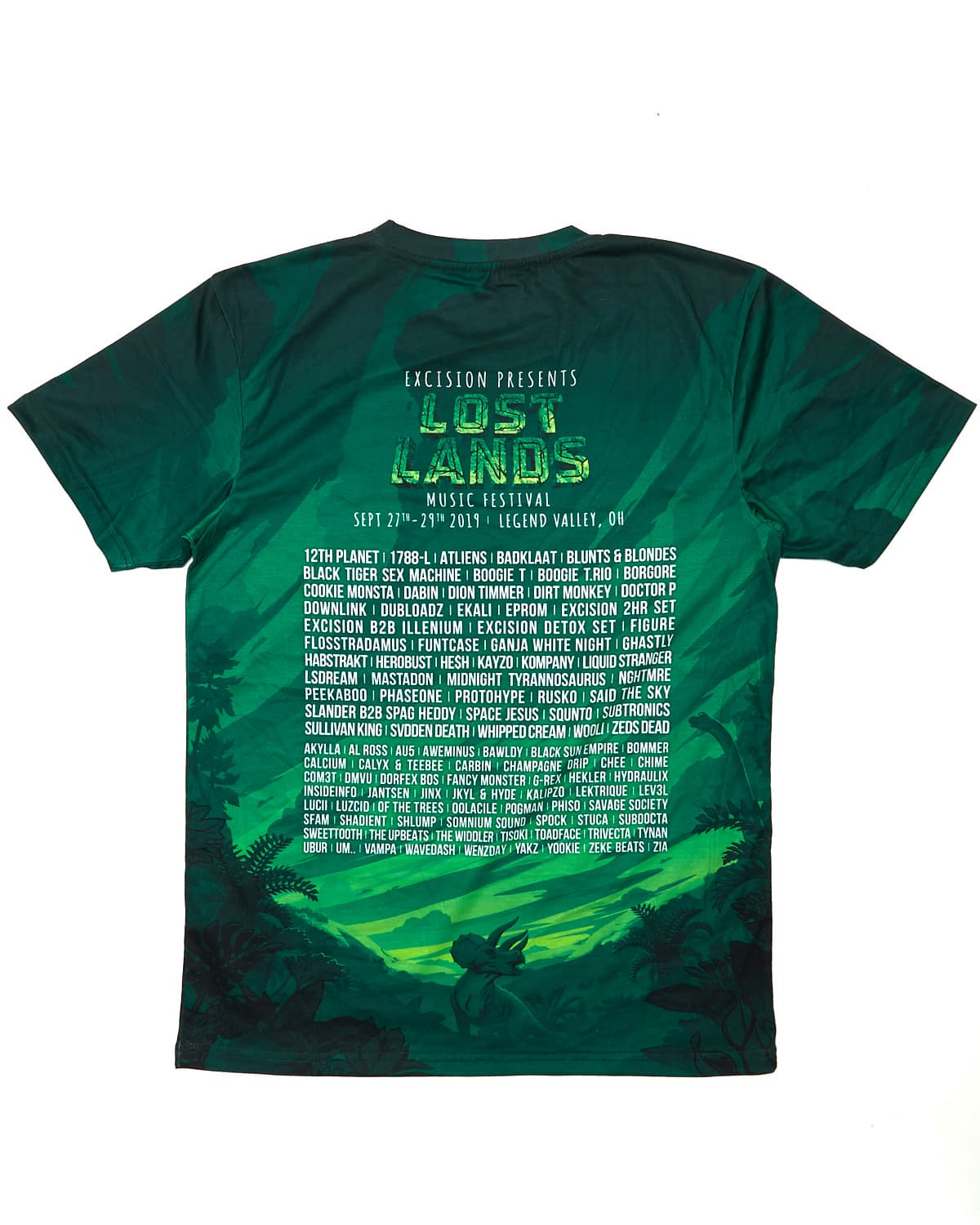 Official Lost Lands 2019 Line Up Dye Sub Tee - Green/Black