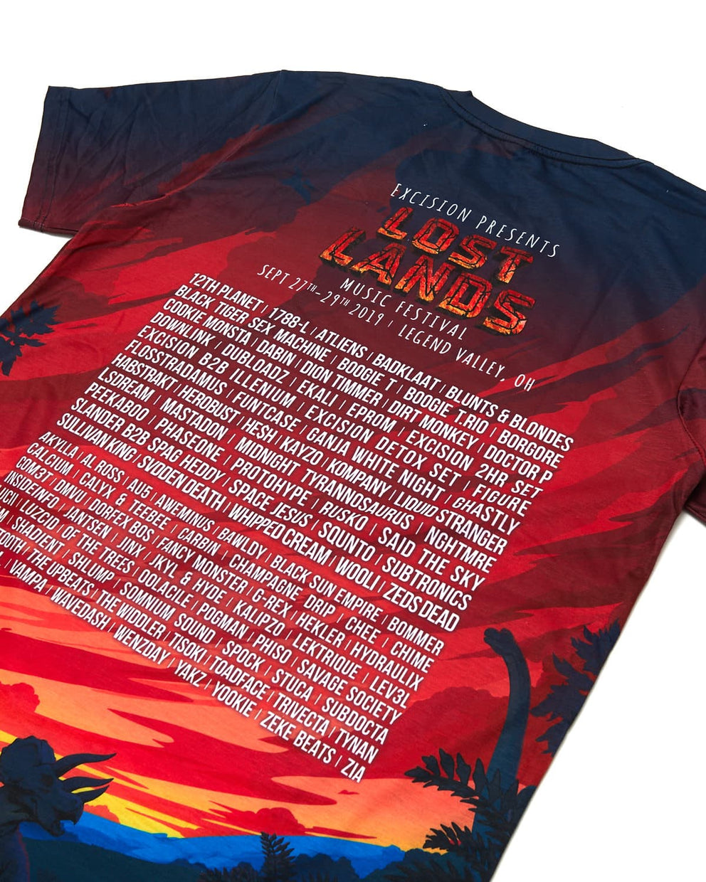 Official Lost Lands 2019 Line Up Dye Sub Tee - Red/Black/Blue