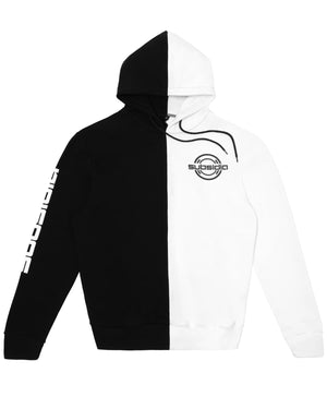 'Subsidia' Small Logo Split Hoodie - Black/White
