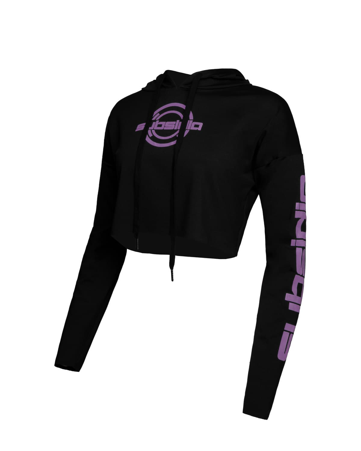 Subsidia Women's Crop Hoodie - Black/Purple