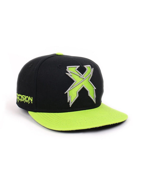 Excision 'Sliced' Logo Snapback Hat - Black/Neon Green/Silver