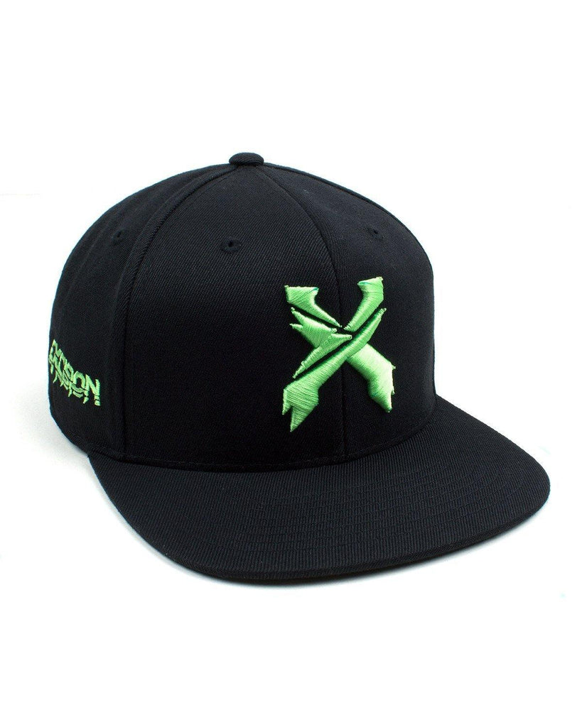 Excision Snapback Hat-Black/Neon Green
