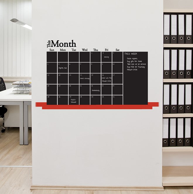 Monthly Calendar Blackboard Wall Sticker