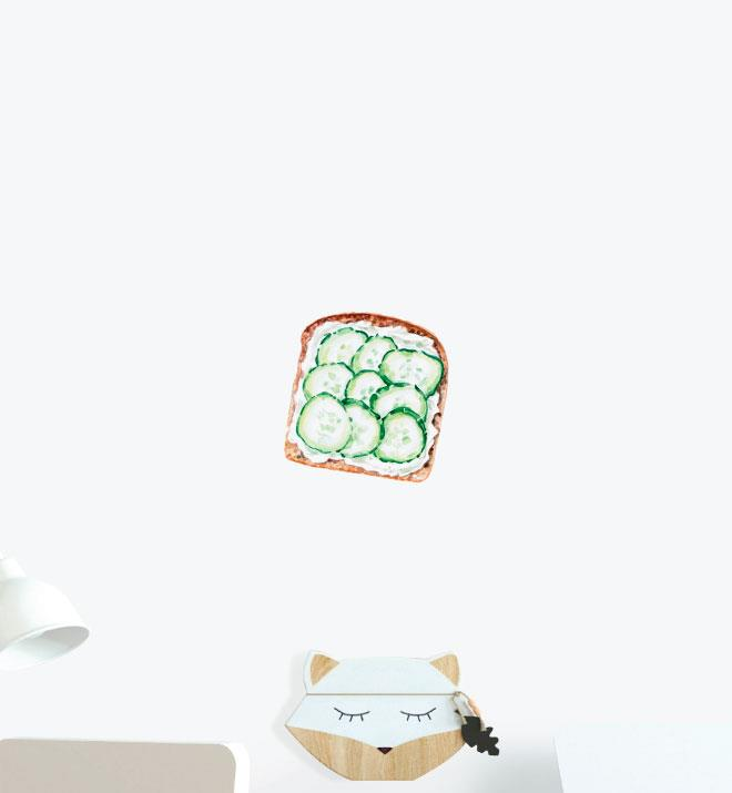 Cottage Cheese And Cucumber On Toast Wall Sticker Decal