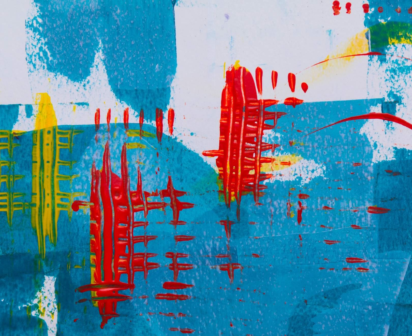 Blue, Red And Yellow Abstract Art