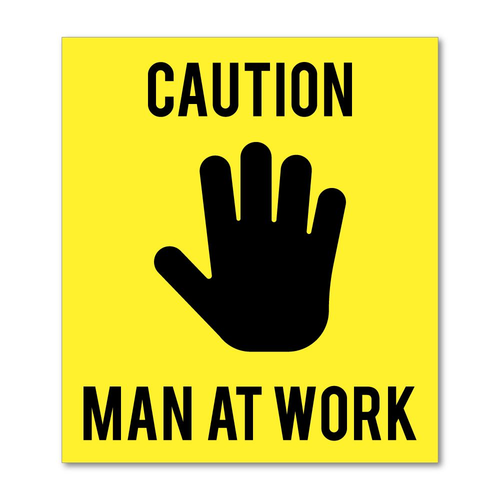 Caution Man At Work Sticker Decal