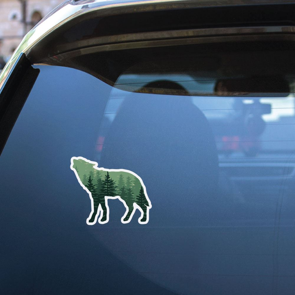 Wolf Silhouette Forest Sticker Decal