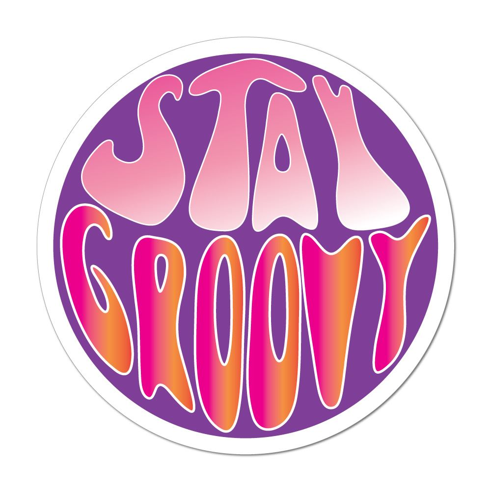 Stay Groovy Hippie Peace Love Campervan Purple Retro Car Sticker Decal