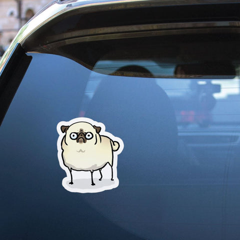 Angry Pug White Sticker Decal