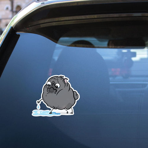 Puddle Black Pug Sticker Decal