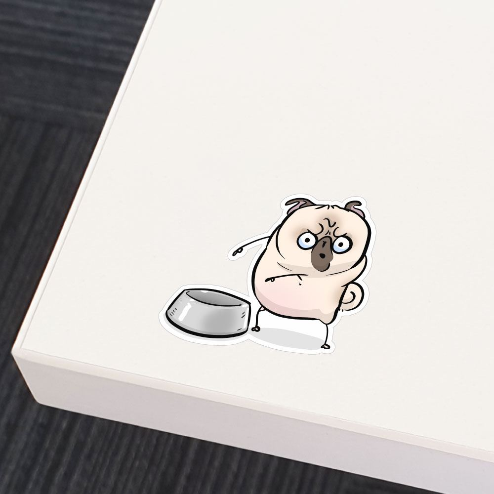 Empty Bowl White Pug Sticker Decal