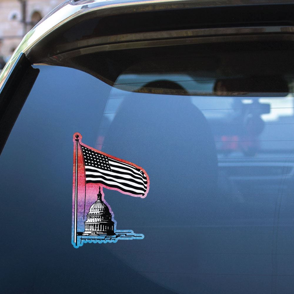 Vintage American Flag White House Usa Sticker Decal