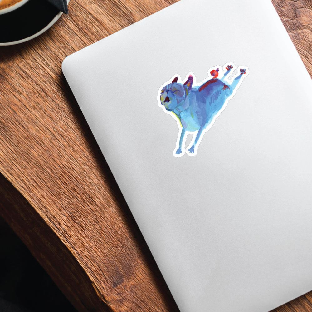 Paint Pugs Blue Leaper Sticker Decal