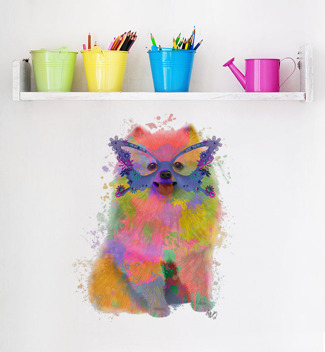 Rainbow Pomeranian With Glasses Wall Sticker