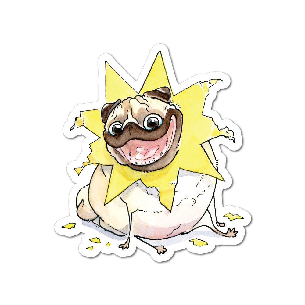 You Are My Sunshine Pug Sticker Decal