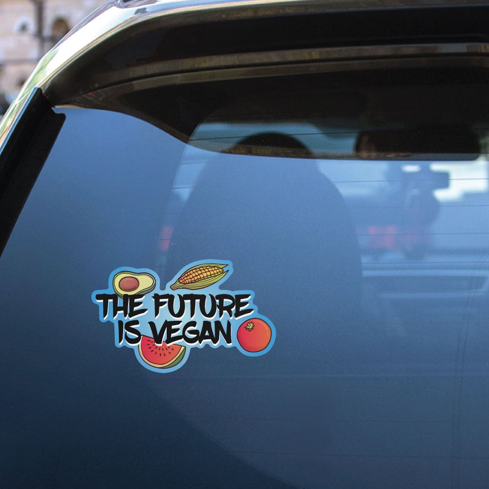 2X The Future Is Vegan Sticker Decal