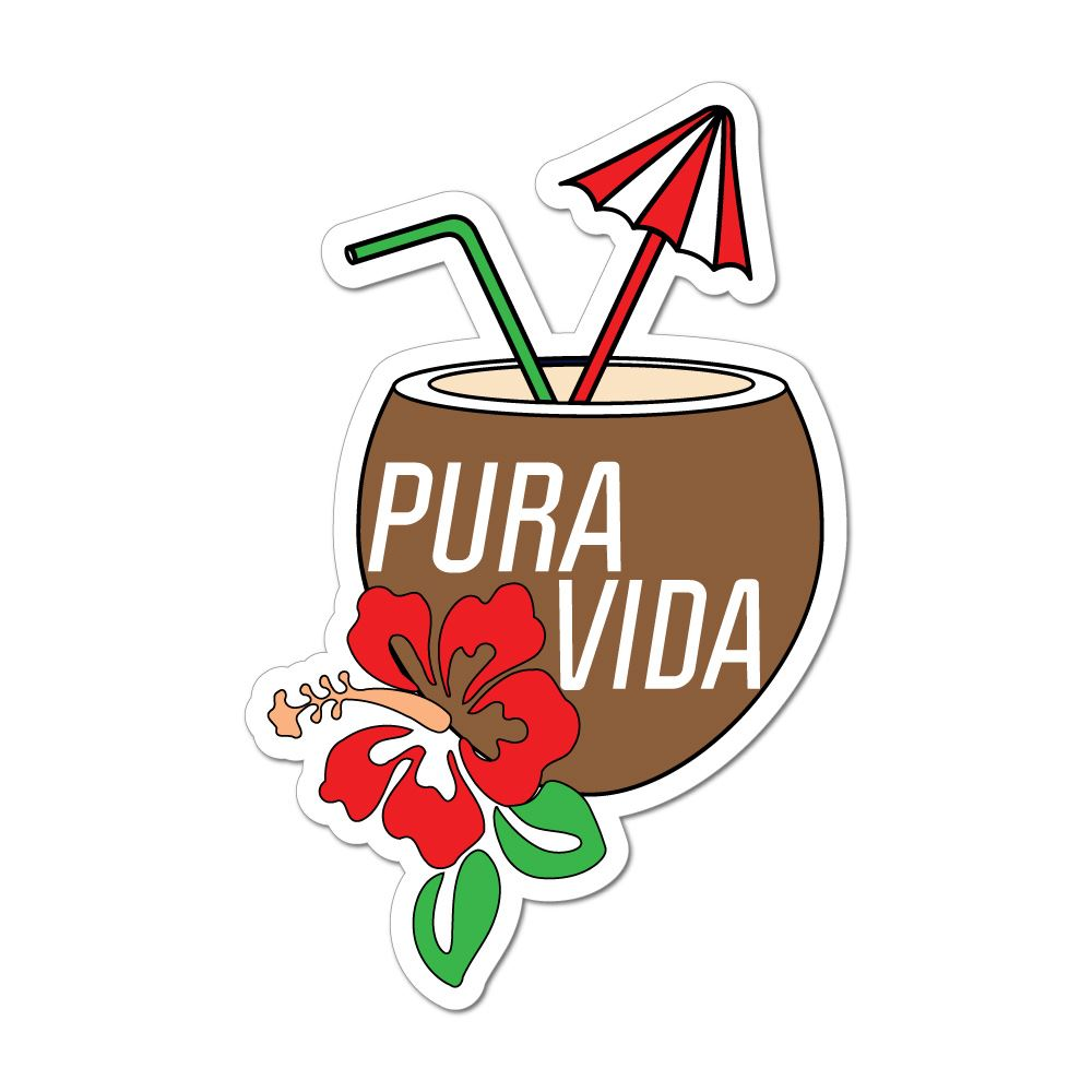 Pura Vida Costa Rica Cocktail Coconut Hawaii Sun Beach Happy  Car Sticker Decal