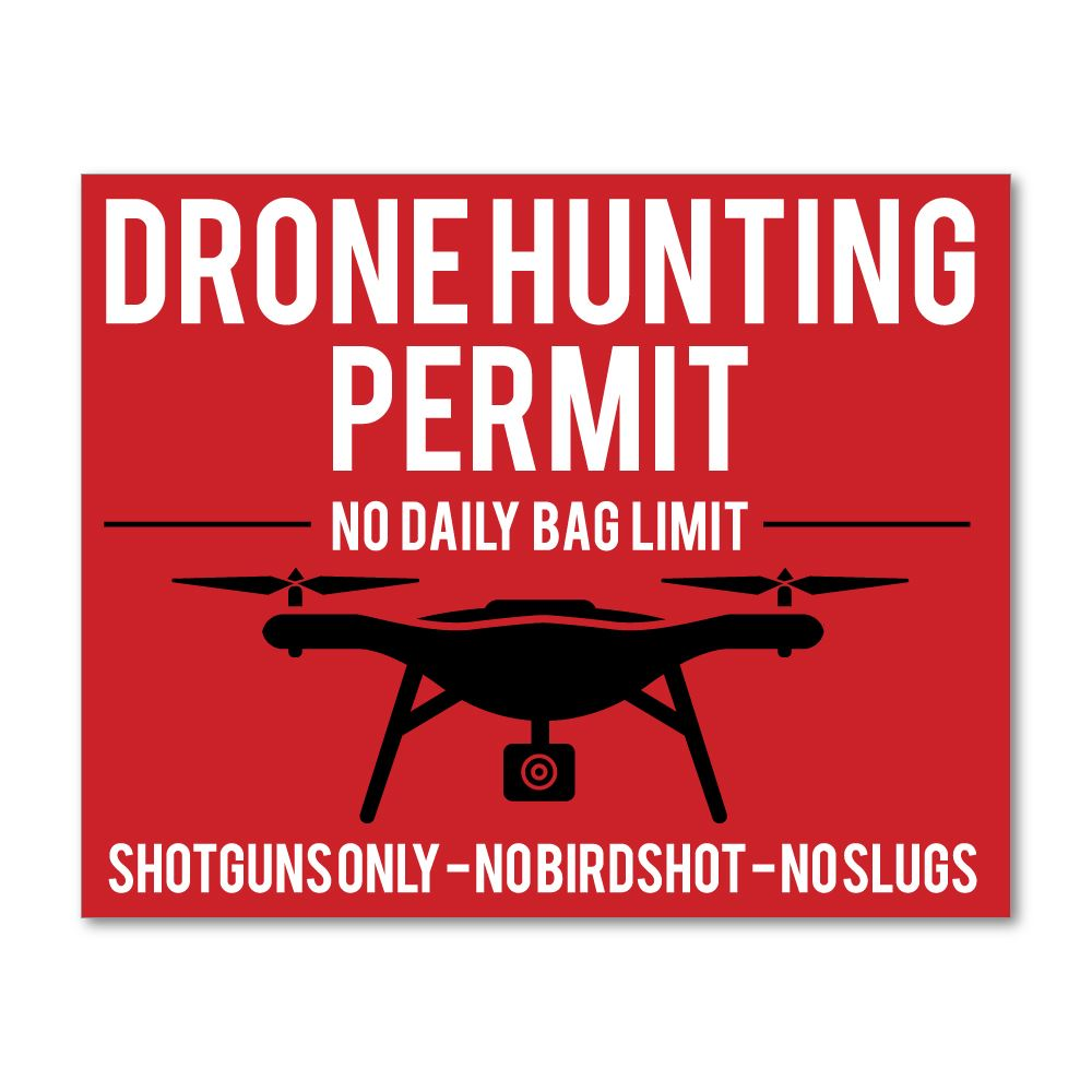 Drone Hunting Permit Sticker Decal