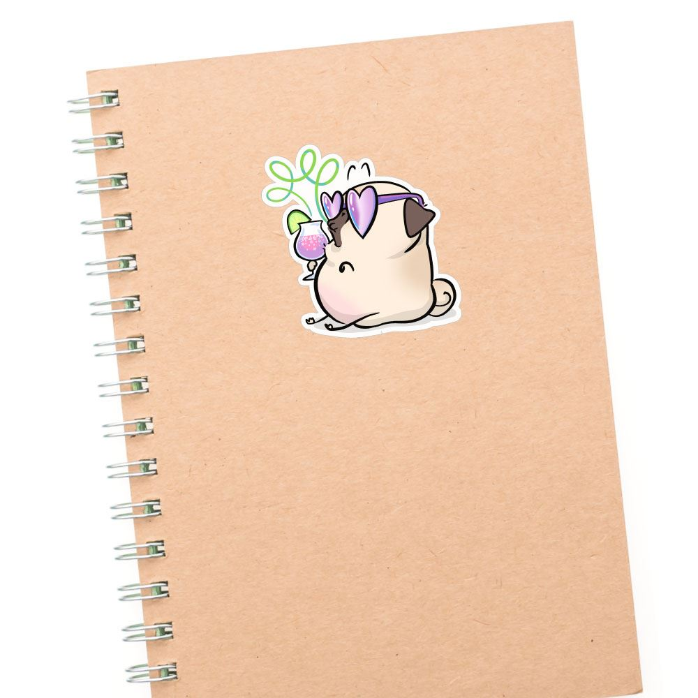 Fancy Drink White Pug Sticker Decal