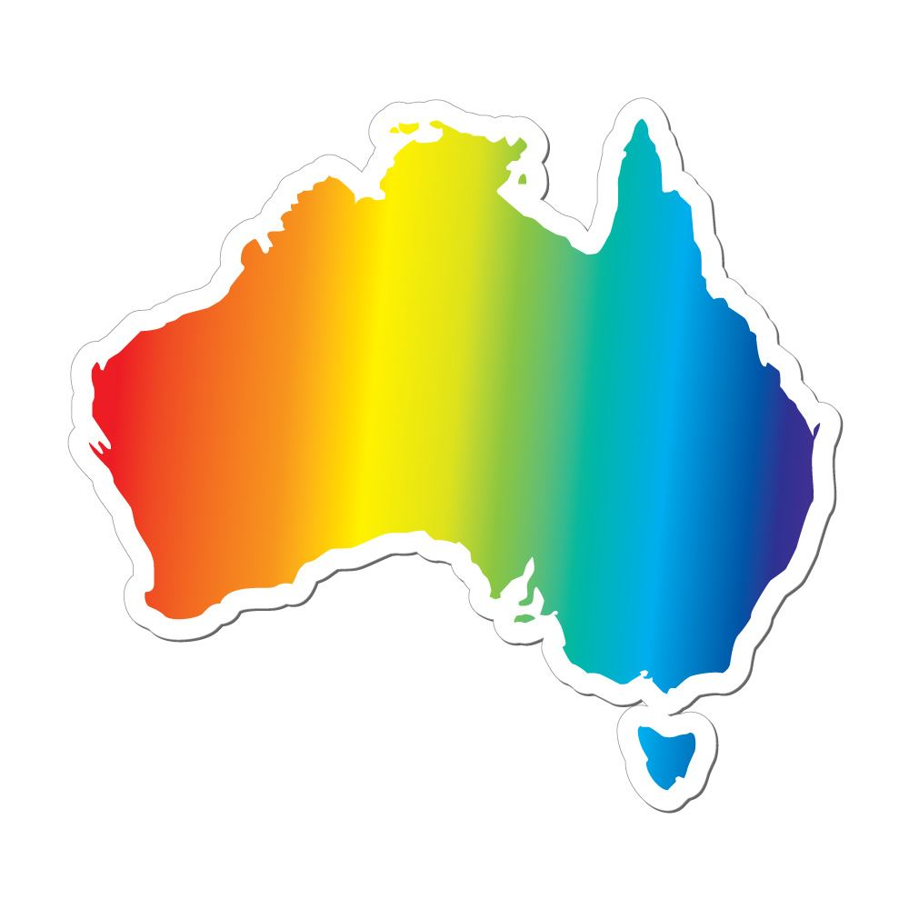 Australia Gay Pride Proud Map Car Sticker Decal