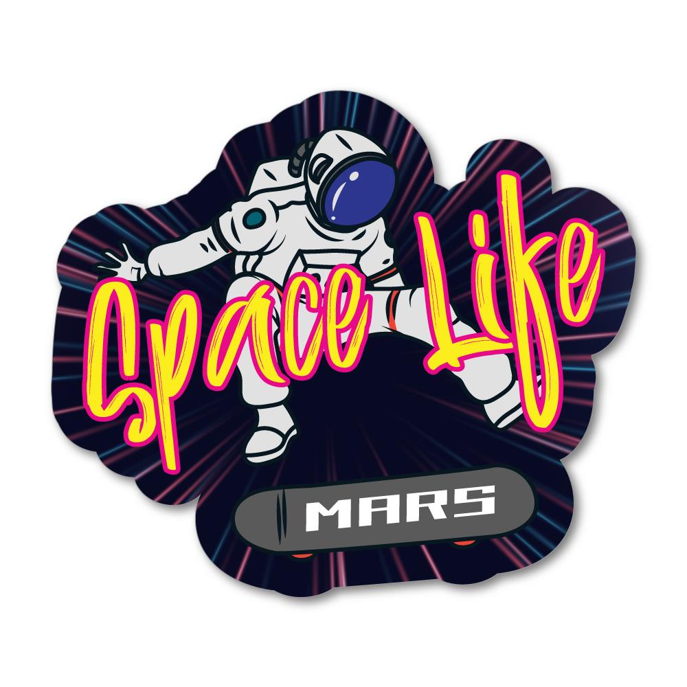 2x Space Life Mars Sticker Decal