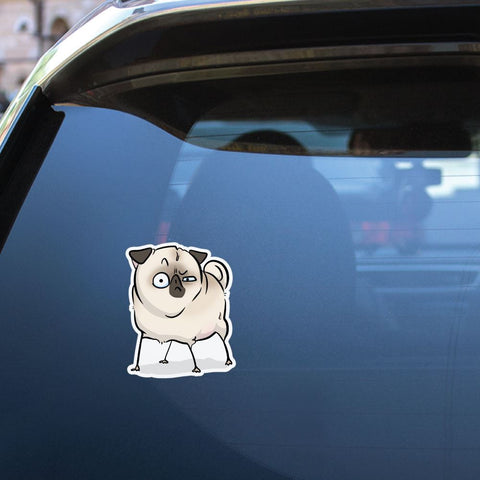 Suspicious White Pug Sticker Decal