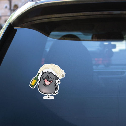 Champagne Black Pug Sticker Decal