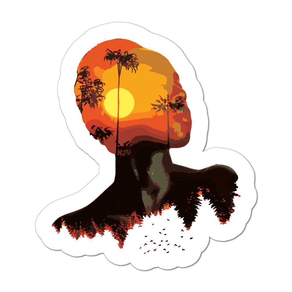 Double Exposure Sunset Car Sticker Decal