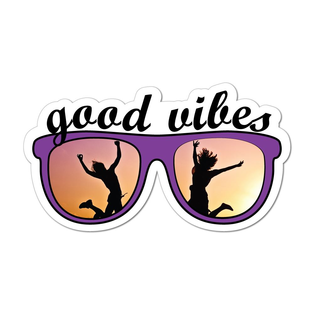 Good Vibes Sunglasses Beach Sunset Fun Happy Love  Car Sticker Decal