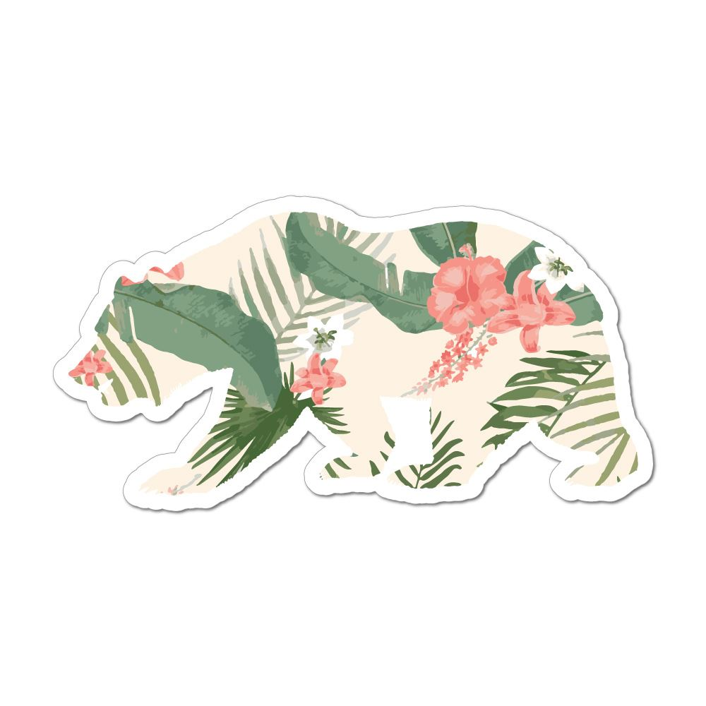 Bear Floral Leaves Green Pattern Art Animal Cute Plants Car Sticker Decal